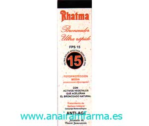 Rhatma Bronceador Ultra Rápido FPS15 (MEDIA) 250Ml